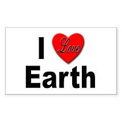 I Love Earth Rectangle Decal