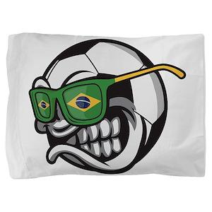 Brazilian Angry Soccer Ball with Sungl Pillow Sham