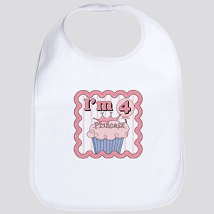 4th Birthday Princess Cupcake Bib