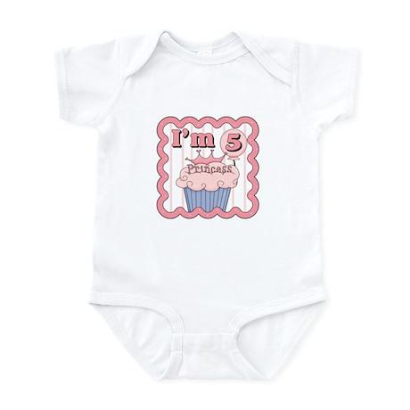 5th Birthday Princess Cupcake Infant Bodysuit