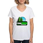 I LOVE GREEN Women's V-Neck T-Shirt
