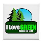 I LOVE GREEN Tile Coaster
