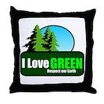 I LOVE GREEN Throw Pillow