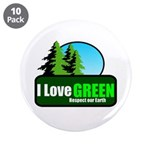 """I LOVE GREEN 3.5"""" Button (10 pack)"""