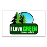I LOVE GREEN Rectangle Sticker