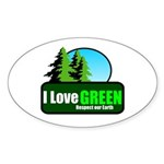 I LOVE GREEN Oval Sticker
