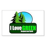 I LOVE GREEN Rectangle Sticker 10 pk)