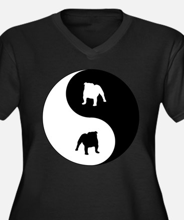 Yin Yang Bulldog Women's Plus Size V-Neck Dark T-S