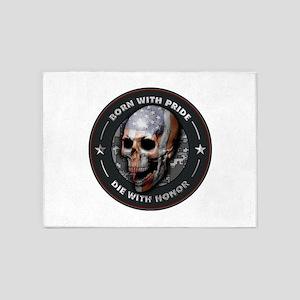 American Flag Skull 05 5'x7'Area Rug
