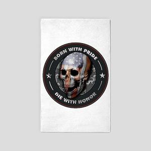 American Flag Skull 05 Area Rug