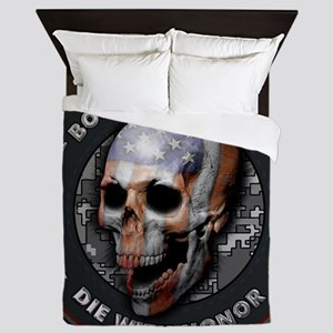 American Flag Skull 05 Queen Duvet