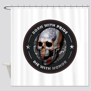 American Flag Skull 05 Shower Curtain