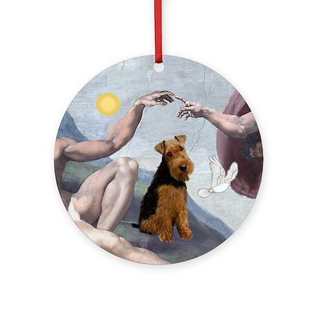 """Creation"" & Welsh Terrier Ornament (Round)"