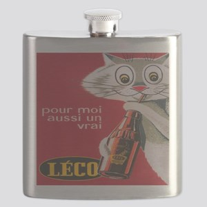 Cat and Soda Drink; Vintage Art Flask
