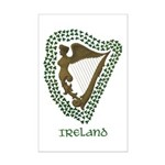 Irish Harp and Shamrock Mini Poster Print