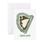 Irish Harp and Shamrock Greeting Cards (Pk of 10)