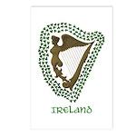 Irish Harp and Shamrock Postcards (Package of 8)