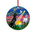 Black Great Dane Magical Night Ornament (Round)