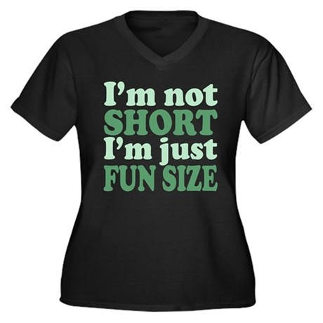 I'm not short! Women's Plus Size V-Neck Dark T-Shi