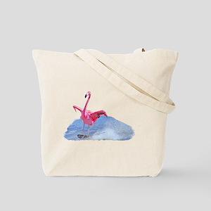 Flamingo skiing on Tote Bag