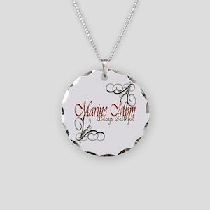 Swirl Marine Mom Necklace Circle Charm