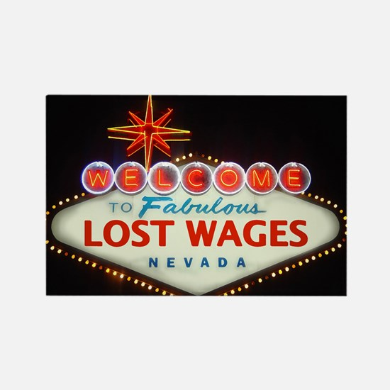 LOST WAGES Rectangle Magnet