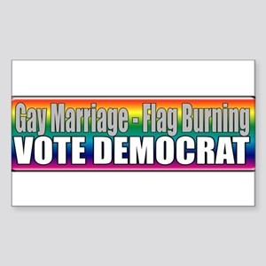 Gay Marriage Flag Burning Rectangle Sticker
