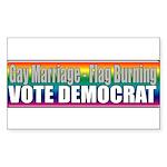 Gay Marriage Flag Burning Rectangle Sticker 50 pk