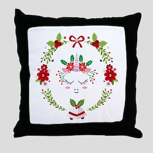 Enchanted Christmas Unicorn Wreath Throw Pillow
