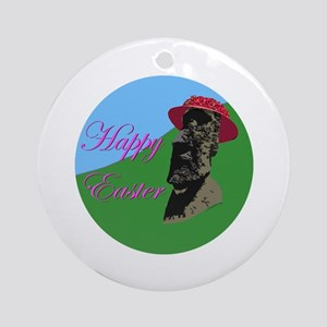 Happy Easter Island Ornament (Round)
