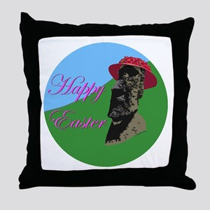 Happy Easter Island Throw Pillow
