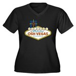 Osh Vegas Women's Plus Size V-Neck Dark T-Shirt