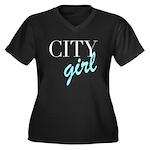 City Girl Women's Plus Size V-Neck Dark T-Shirt