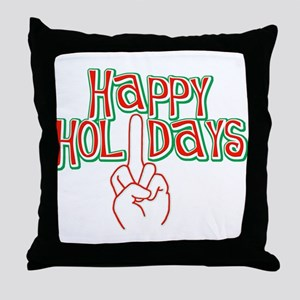 happy holidays middle finger Christmas pillow