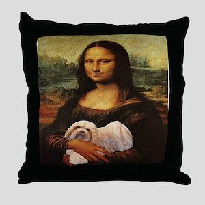 Mona Lisa Lhasa! Throw Pillow