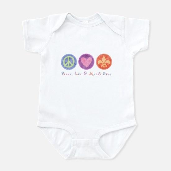 Peace Love & Mardi Gras Infant Bodysuit