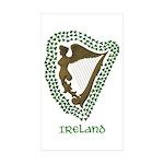 Irish Harp and Shamrock Rectangle Sticker 10 pk)
