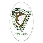 Irish Harp and Shamrock Oval Sticker (50 pk)