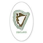 Irish Harp and Shamrock Oval Sticker (10 pk)