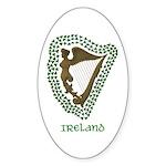 Irish Harp and Shamrock Oval Sticker