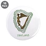 """Irish Harp and Shamrock 3.5"""" Button (10 pack)"""