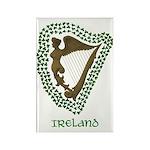 Irish Harp and Shamrock Rectangle Magnet