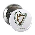 """Irish Harp and Shamrock 2.25"""" Button (10 pack)"""
