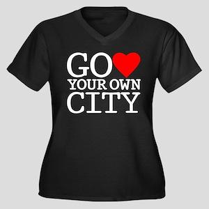 Your Own City Women's Plus Size V-Neck Dark T-Shir