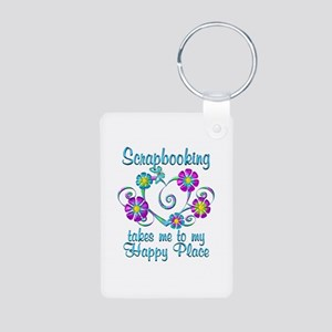 Scrapbooking Happy Place Aluminum Photo Keychain