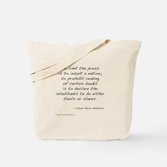 Helvetius on Books Tote Bag