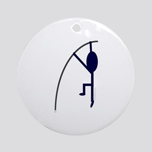 Navy Pole Vaulter Ornament (Round)