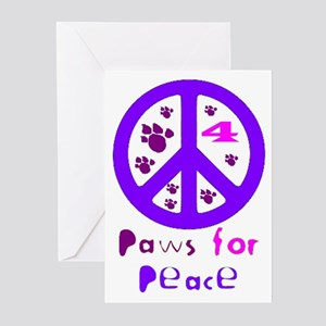 Paws for Peace Purple Greeting Cards (Pk of 10