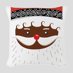 afro american santa Woven Throw Pillow
