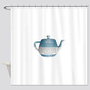 Christmas cup of tea Shower Curtain